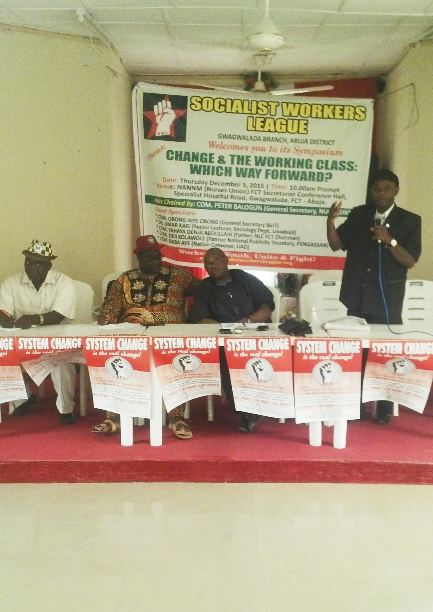 Com Abdullahi Denja Yahaya addressing comrades at the symposium