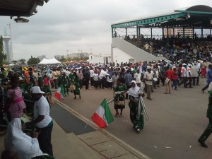 Workers flocking into the 2015 NLC & TUC May Day 2015 Rally at the Eagle Square, Abuja